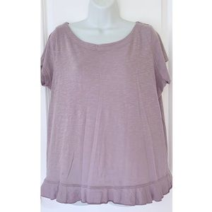 Susina Purple Short Sleeve Burnout Peplum Top